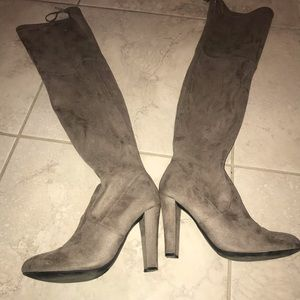 Steve Madden beige over the knee suede boot